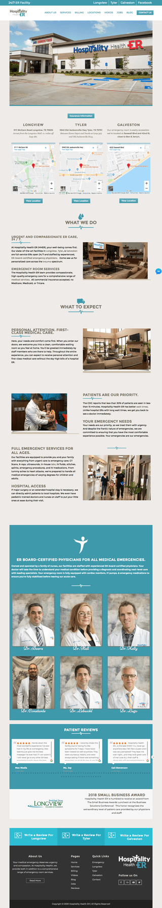 Emergency Room Website Design